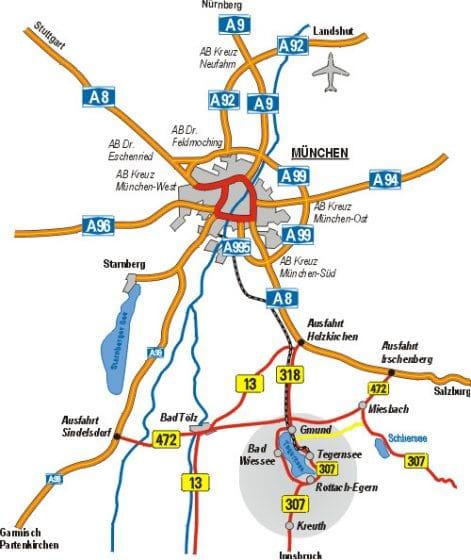 Auf dem Bild ist ein Anfahrtsskizze zum Vital Hotel Alpensonne in Bad Wiessee am Tegernsee zu sehen. Als Zentraler Punkt der Karte dient München.